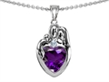 14k gold plated Silver Loving Mother and Father with Child Family Pendant with Genuine Heart Shape Amethyst