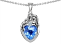 14k gold plated Silver Loving Mother and Father with Child Family Pendant with Genuine Heart Shape Blue Topaz