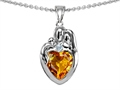 14k gold plated Silver Loving Mother and Father with Child Family Pendant with Genuine Heart Shape Citrine