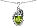 14k gold plated Silver Loving Mother and Father with Child Family Pendant with Genuine Heart Shape Peridot