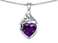 14k white gold plated Sterling Silver Loving Mother with Child Family Pendant with Genuine Heart Shape Amethyst