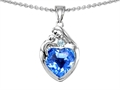 14k white gold plated Sterling Silver Loving Mother with Child Family Pendant with Genuine Heart Shape Blue Topaz