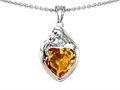 14k white gold plated Sterling Silver Loving Mother with Child Family Pendant with Genuine Heart Shape Citrine