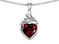 14k white gold plated Sterling Silver Loving Mother with Child Family Pendant with Genuine Heart Shape Garnet