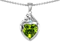 14k white gold plated Sterling Silver Loving Mother with Child Family Pendant with Genuine Heart Shape Peridot