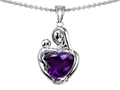 14k white gold plated Sterling Silver Loving Mother with Child Hugging Pendant with Genuine Heart Shape Amethyst