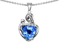14k white gold plated Sterling Silver Loving Mother with Child Hugging Pendant with Genuine Heart Shape Blue Topaz