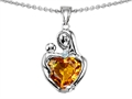 14k white gold plated Sterling Silver Loving Mother with Child Hugging Pendant with Genuine Heart Shape Citrine