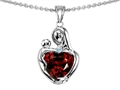 14k white gold plated Sterling Silver Loving Mother with Child Hugging Pendant with Genuine Heart Shape Garnet