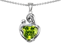 14k white gold plated Sterling Silver Loving Mother with Child Hugging Pendant with Genuine Heart Shape Peridot