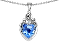 14k white gold plated Sterling Silver Loving Mother with Children Pendant with Genuine Heart Shape Blue Topaz