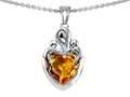 14k white gold plated Sterling Silver Loving Mother with Children Pendant with Genuine Heart Shape Citrine