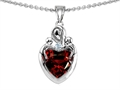 14k white gold plated Sterling Silver Loving Mother with Children Pendant with Genuine Heart Shape Garnet