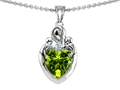 14k white gold plated Sterling Silver Loving Mother with Children Pendant with Genuine Heart Shape Peridot
