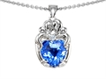 14k White gold plated Silver Loving Mother and Hugging Family Pendant with Genuine Heart Shape Blue Topaz