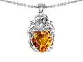 14k White gold plated Silver Loving Mother and Hugging Family Pendant with Genuine Heart Shape Citrine