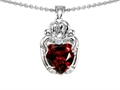 14k White gold plated Silver Loving Mother and Hugging Family Pendant with Genuine Heart Shape Garnet