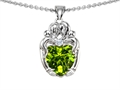 14k White gold plated Silver Loving Mother and Hugging Family Pendant with Genuine Heart Shape Peridot