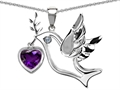 14k White Gold Plated Sterling Silver Peace Love Dove Pendant with Genuine Diamond and Heart Shape Amethyst