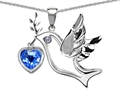 14k White Gold Plated Sterling Silver Peace Love Dove Pendant with Genuine Diamond and Heart Shape Blue Topaz