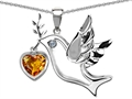 14k White Gold Plated Sterling Silver Peace Love Dove Pendant with Genuine Diamond and Heart Shape Citrine