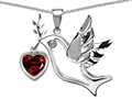 14k White Gold Plated Sterling Silver Peace Love Dove Pendant with Genuine Diamond and Heart Shape Garnet