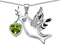 14k White Gold Plated Sterling Silver Peace Love Dove Pendant with Genuine Diamond and Heart Shape Peridot