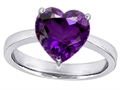 14k White Gold Plated 925 Sterling Silver Large Heart Shape Solitaire Engagement Ring with Genuine Amethyst