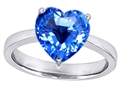 14k White Gold Plated 925 Sterling Silver Large Heart Shape Solitaire Engagement Ring with Genuine Blue Topaz