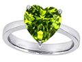 14k White Gold Plated 925 Sterling Silver Large Heart Shape Solitaire Engagement Ring with Genuine Peridot