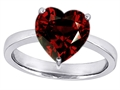 14k White Gold Plated 925 Sterling Silver Large Heart Shape Solitaire Engagement Ring with Genuine Garnet