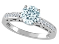 Genuine Aquamarine and Diamond Solitaire Engagement Ring