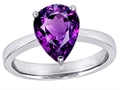 14k White Gold Plated 925 Sterling Silver Large Pear Shape Solitaire Engagement Ring with Genuine Amethyst