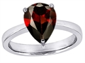 14k White Gold Plated 925 Sterling Silver Large Pear Shape Solitaire Engagement Ring with Genuine Garnet