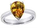 14k White Gold Plated 925 Sterling Silver Large Pear Shape Solitaire Engagement Ring with Genuine Citrine