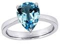 14k White Gold Plated 925 Sterling Silver Large Pear Shape Solitaire Engagement Ring with Genuine Blue Topaz