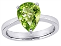 14k White Gold Plated 925 Sterling Silver Large Pear Shape Solitaire Engagement Ring with Genuine Peridot
