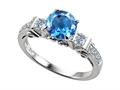 14k White Gold Plated Sterling Silver Engagement Ring with 6 Genuine Diamonds and Genuine Round Blue Topaz