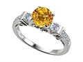 14k White Gold Plated Sterling Silver Engagement Ring with 6 Genuine Diamonds and Genuine Round Citrine