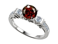 14k White Gold Plated Sterling Silver Engagement Ring with 6 Genuine Diamonds and Genuine Round Garnet