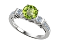 14k White Gold Plated Sterling Silver Engagement Ring with 6 Genuine Diamonds and Genuine Round Peridot