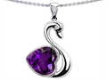 14k White Gold Plated 925 Silver 1inch Love Swan Pendant with Genuine Heart Shape Amethyst