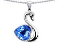 14k White Gold Plated 925 Silver 1inch Love Swan Pendant with Genuine Heart Shape Blue Topaz