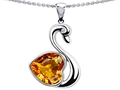 14k White Gold Plated 925 Silver 1inch Love Swan Pendant with Genuine Heart Shape Citrine