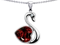 14k White Gold Plated 925 Silver 1inch Love Swan Pendant with Genuine Heart Shape Garnet