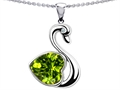 14k White Gold Plated 925 Silver 1inch Love Swan Pendant with Genuine Heart Shape Peridot