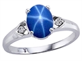 Lab Created Star Sapphire and Genuine Diamond Ring