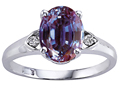 Lab Created Alexandrite and Genuine Diamond Ring