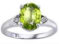 Genuine Peridot and Diamond Ring