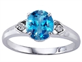 Genuine Round Blue Topaz and Diamond Engagement Ring